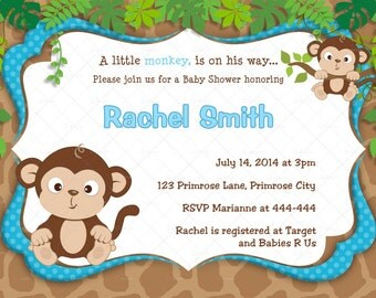 Blue Monkey Boy Baby Shower Invitation and FREE Thank You Card Printable DIY