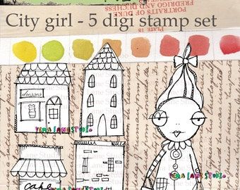 City girl and shops digi stamp set - whimsical and fun images for paper crafting