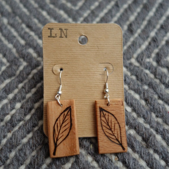 Wood Burned Earrings - Leaves