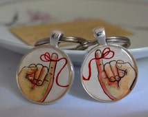 boyfriend keychain set, 2 male hands, red string of fate, hand painted