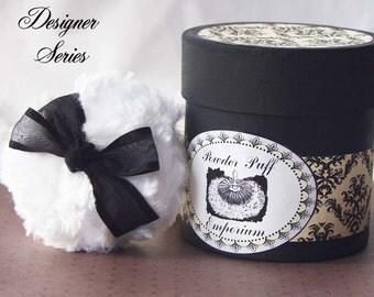 Designer Series Powdering SET (puff, powder box, powder) -  Vanilla and Black Damask