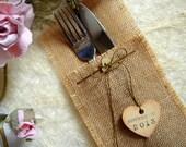 Burlap Flatware Holders, Wedding Table Setting, Rustic Flatware Pockets, 100 Eco friendly  Flatware Holders