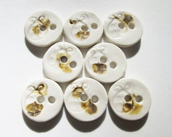Ladybug Buttons - 8 Round Porcelain Buttons