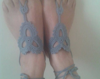 Barefoot Sandals-Hand Crochet Sandals-footless sandals-Beach Jewelry-Pool-Ready to Ship