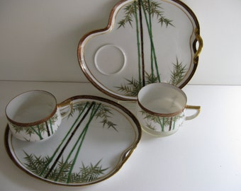 Vintage SNACK Sets/PORCELAIN /LUNCHEON Sets/Asian Motiff/Luncheon Plate with Cup/Luncheon Tray w Cup/Fine Porcelain Lunch Sets/Plate w Cup