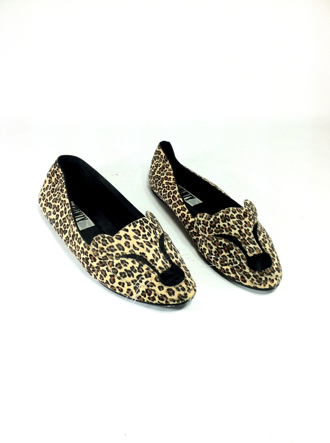 leopard slip on cat shoes 9 cat flats 9 by melissajoyvintage