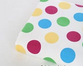 Fine Canvas Cotton Fabric With Large Colorful Rainbow Polka Dots For Bag Cushion- 1/2 Yard