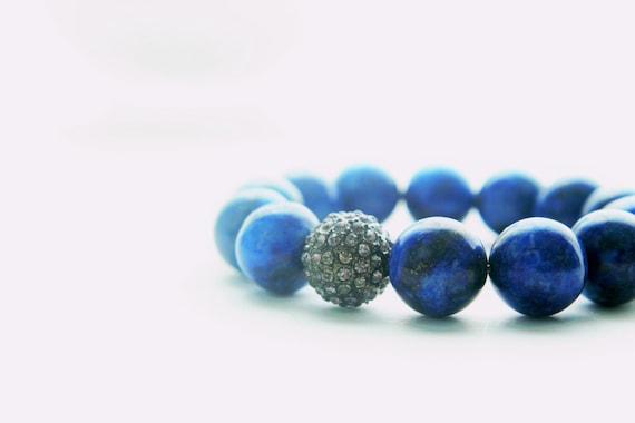 Blue Lapis and Gunmetal Pave Rhinestone Bracelet