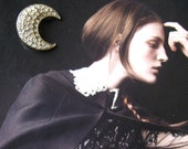 Rhinestone Moon Brooch, Jewelry, Vintage Rhinestone pin, Women's accessory