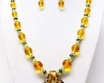 Round Orange Transparent & White Glass Bead w/Pendant Necklace and Earrings Set