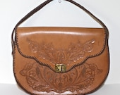 Vintage 1950s Leather Hand Tooled Purse / 50s 60s Tooled Flower Design Light Brown Cowgirl Western Handbag / Suede Interior