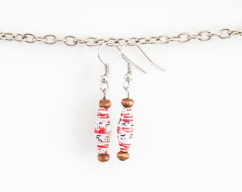 Red and White Paper Bead Earrings