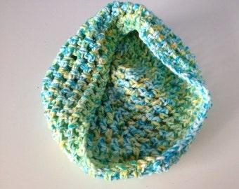 Crochet Newborn Baby Bowl wrap Photo Prop Blue Green Yellow