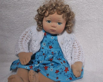 """SALE! Fretta's 16"""" OOAK Cloth over Clay Little Girl Doll with Soft Sculptured body."""