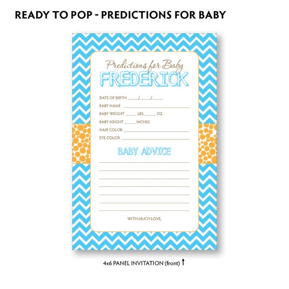 ready to pop prediction card baby shower game baby predictions