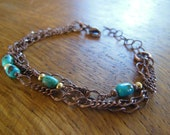 3 Strand Copper Bracelet with Turquoise Beads