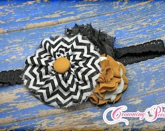 Mustard, Black, White Headband, Hair Accessories, Gold, Girl's Flower Hair Accessory, Chevron Print Fabric Flower Brooch, Baby Hair Bow