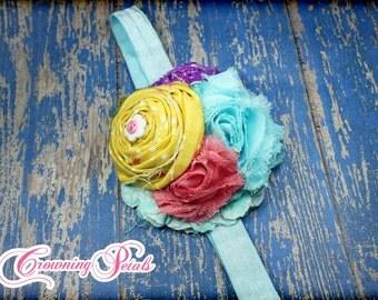 Yellow, Pink, Aqua Purple Headband, M2M Matilda Jane, Butterfly Lulu Dress, Pink Petal Ruffle Capris, Hair Accessory, Hair Clip, Hairbow