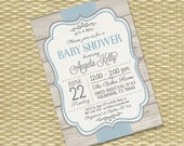Printable Baby Boy Shower Invitation Rustic Baby Shower Sip and See Baby Sprinkle Diaper Wipes Blue Grey, Any Colors, Any Event