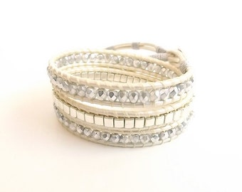 Triple Wrap Bracelet, Silver Bead Wrap Bracelet With Metallic Pearl Leather Cord