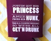 Country Wedding can coolies, Princess and the Hunk Country theme beverage holders, Deer antler wedding favors, funny gettin drunk wedding