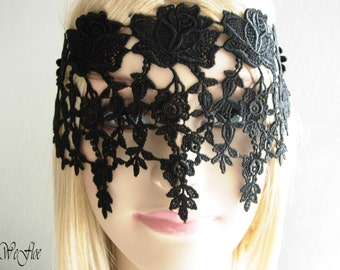 Black lace mask masquerade ball face mask headpiece Halloween venise lace shoothing -ROSE-