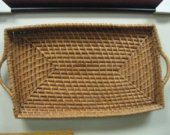 vintage flat basket for wall hanging or decoration-1990's or earlier-good condition-no ordors-rectangle styling