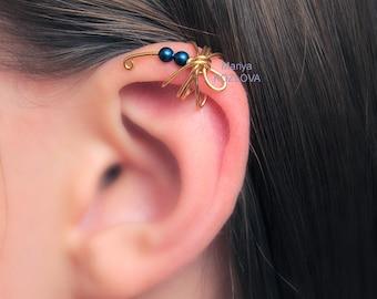 No Piercing Dragonfly Upper Top Helix Ear Cuff/fake faux piercing/piercing imitation/ear sweep climber/oreille manchette/ohr oberen knorpel