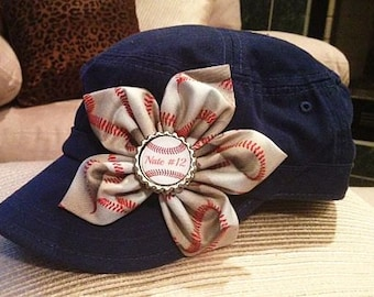 Personalized Baseball Mom cadet hat with baseball print fabric flower and personalized bottle cap embellishment