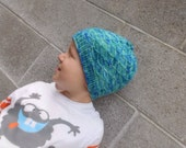 Eco Friendy Kids Hat Beanie for Boys and Girls Winter Hat Bright Blue and Aqua Hand Dyed Organic Merino Wool Hand Knit