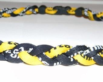 "Titanium Tornado 3 Braid  Rope Sports Necklace  -Black & Gold  -20"" long"