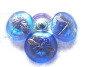 Czech  Glass Buttons  4 pcs   DRAGONFLY  platinum     22 mm     IVA 103
