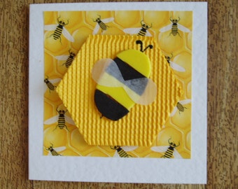 Bright Bee Card. Individually handmade. Suitable for any occasion.