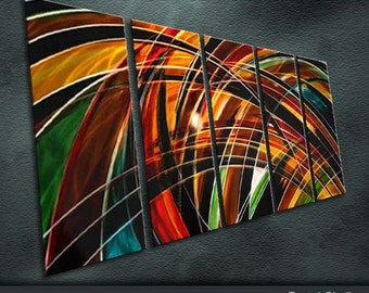 "Original Shining Metal Wall Art Modern Abstract Painting Sculpture Indoor Outdoor Decor ""Colour Composition"" by Ning"