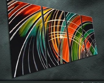 """Large Original Metal Wall Art Modern Abstract Painting Sculpture Indoor Outdoor Decor """"Lively Color"""" by Ning"""