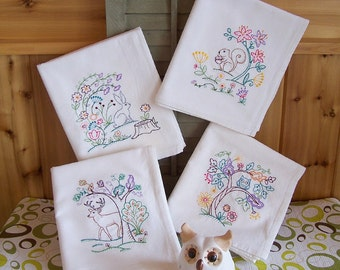 Flour Sack Embroidered Set of Whimsy Vintage Woodland Designs