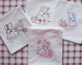 Embroidered Flour Sack Towels of Gardening with Sunbonnet Sue