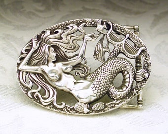 Mermaid Belt Buckle in Solid Sterling Silver 925