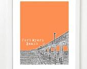 Fort Myers Beach Skyline Poster  - Florida Art - City Art Print - Fort Myers Beach Wedding Gift
