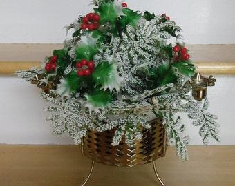Vintage Christmas Centerpiece - 50s Silver Tone Metal Candle Holder - Christmas Floral Centerpiece - Christmas Artificial Flower Arrangement