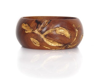 Wood Bracelet of Indian Rosewood with Gold Leaf -- Golden Brown