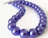 Chunky Pearl Necklace, Purple Pearl Necklace, Periwinkle Necklace, Faux Pearl Necklace, Chunky Purple Necklace, Purple Beaded Necklace