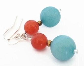 Amazonite Earrings, Blue and Orange Earrings, Apricot Jade Earrings, Amazonite Jewelry, Blue Dangle Earrings, Blue Stone Earrings