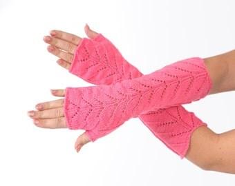 SALE Long lace Fingerless Pink Hot pink Lace Fingerless mittens Arm Warmer Gloves Long Fingerless Extra Long fingerless Lace