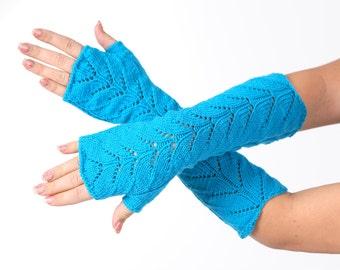 SALE Turquoise Long lace Fingerless Lace Fingerless mittens Arm Warmer Gloves Long Fingerless Extra Long fingerless Lace gloves
