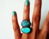 RESERVED Peruvian Opal Turquoise Sterling Silver Ring Gemstone Statement Cocktail Fine Jewelry Mineral Stone Metalsmith Senobar