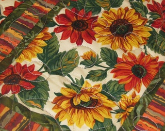 Quilted Table Runner - Table Topper - Gold and Rust Sunflowers 2