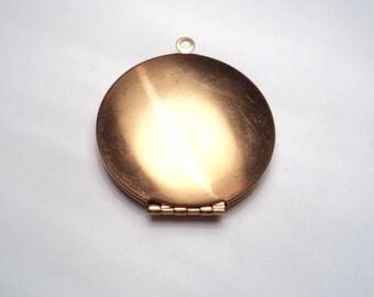 1 pc - 38mm brass round locket - made in USA -  us38