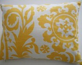 Yellow Pillow cover 12 x 16 Yellow and White Suzani Fabric-Decorative Pillow Cover, Throw Pillow, Toss Pillow