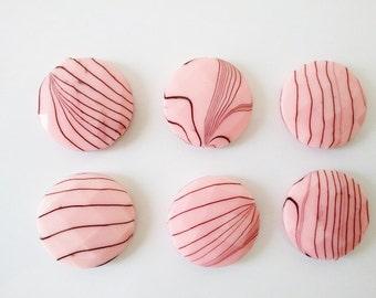 Pink Flat acrylic beads 6pc